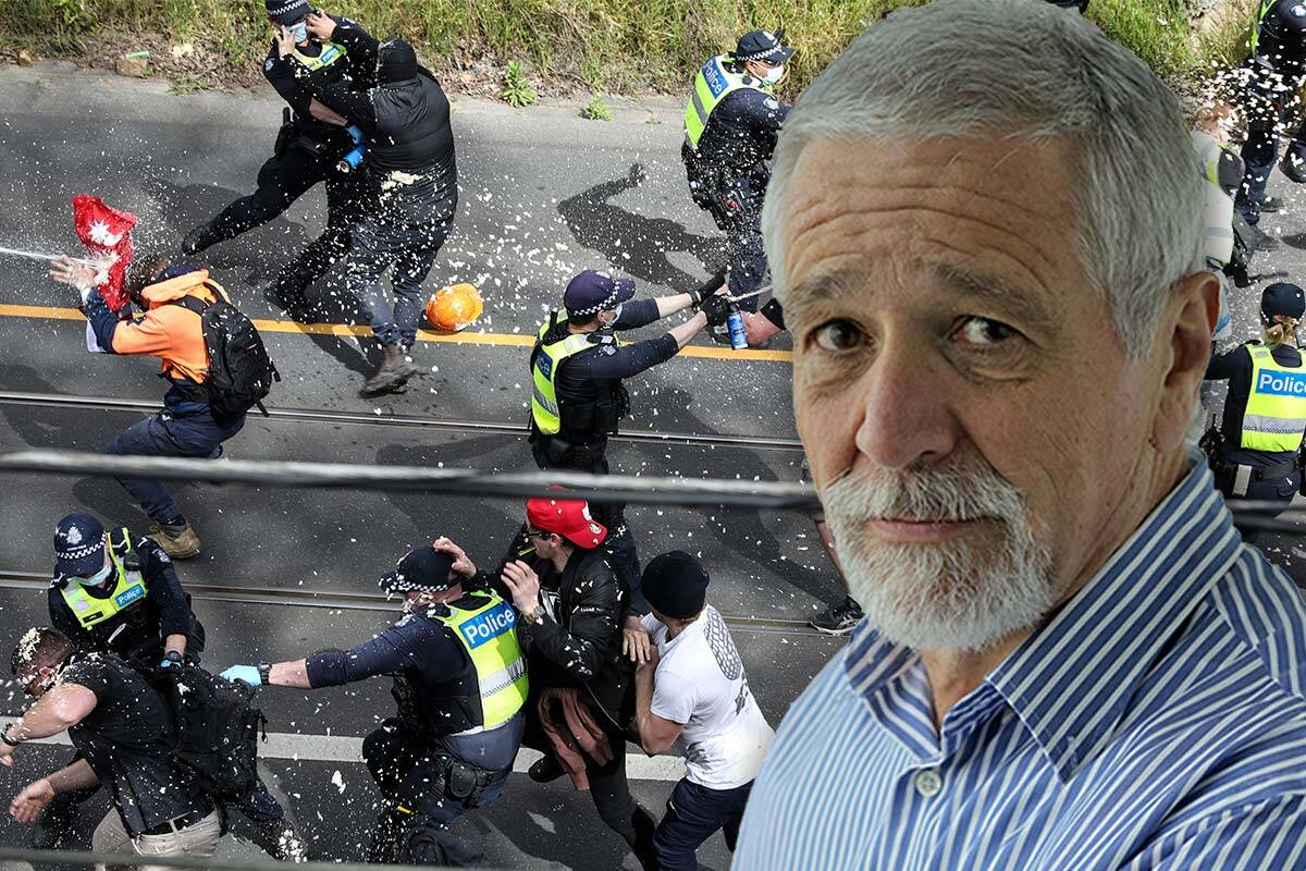Protesters clash with police + Neil Mitchell image overlayed