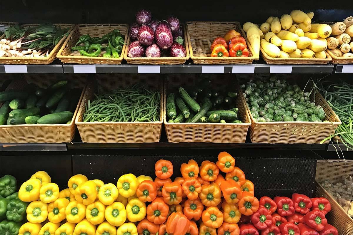 Vegetables on shelves at supermarket