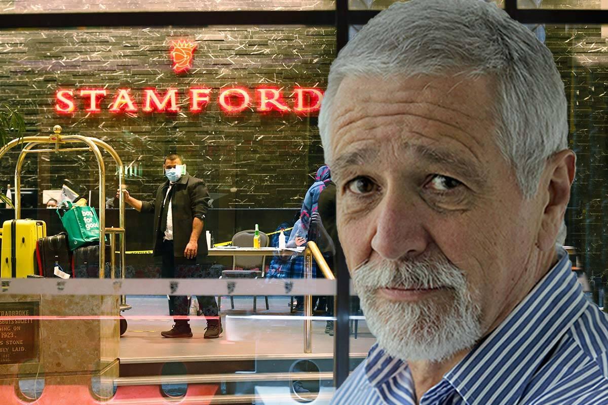Stamford Hotel lobby with Neil Mitchell headshot